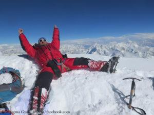 Mingma Gyalje Sherpa on K2 summit in summer 2017