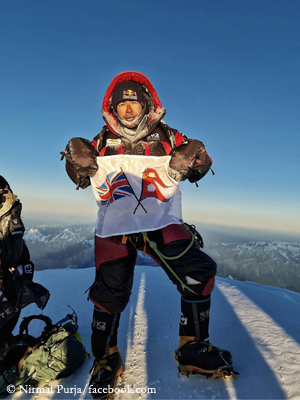 Nirmal Purja on the summit of K2
