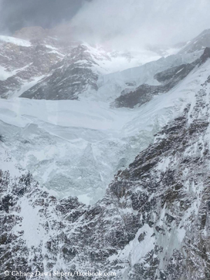 View from the helicopter on the summit zone of K2