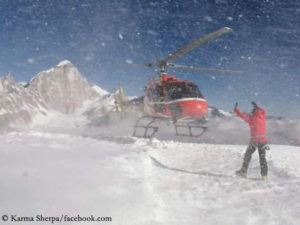 Helicopter landing in Camp 1 on Manaslu