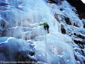 Pemba Sherpa while ice climbing