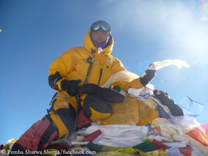 Pemba on the summit of Mount Everest in 2013