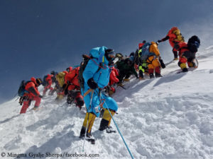 Climbers in the summit zone of Annapurna I