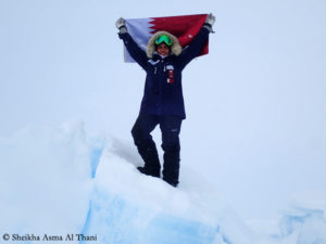 Scheicha Asma Al Thani during her last-degree expedition to the North Pole (in 2018)