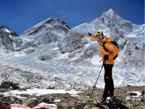 David Göttler points to Everest