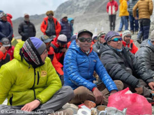 Kami Rita Sherpa (2nd from left) at this year's puja at Everest Base Camp.