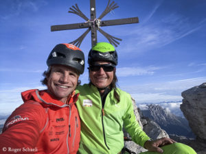 Roger Schaeli (l.) and Simon Gietl (on the summit of Cima Grande)